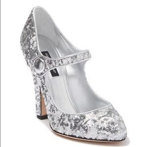 Authentic Dolce & Gabbana Sequin Mary-Jane Pump.